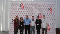 Delegação dos trabalhadores químicos e dos instrumentos musicais e brinquedos no Congresso de Fundação da Industriall Global Union